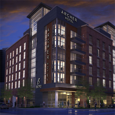 Archer Hotel Tysons night exterior